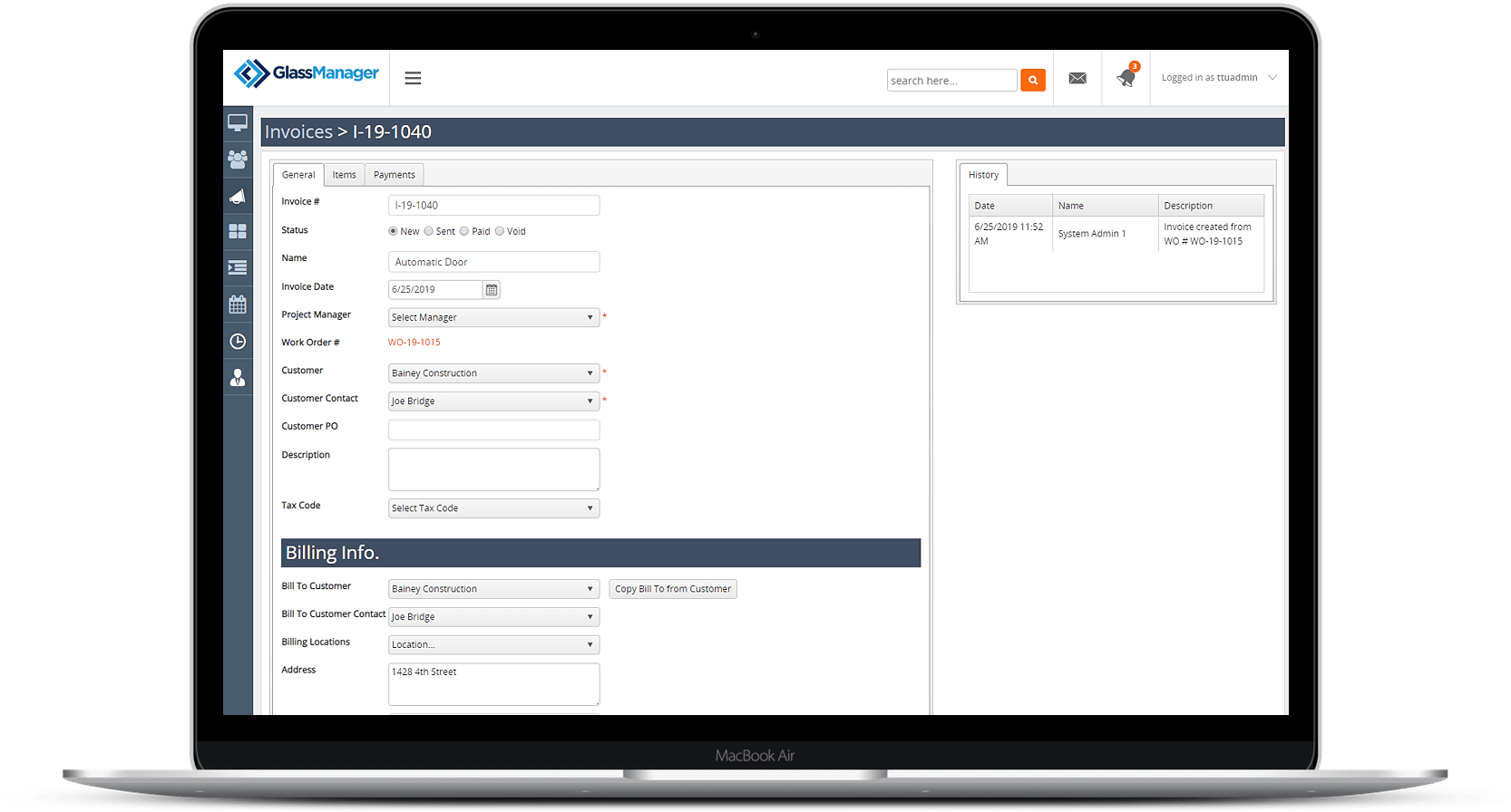 invoicing section of GlassManager Bsuiness Management Software