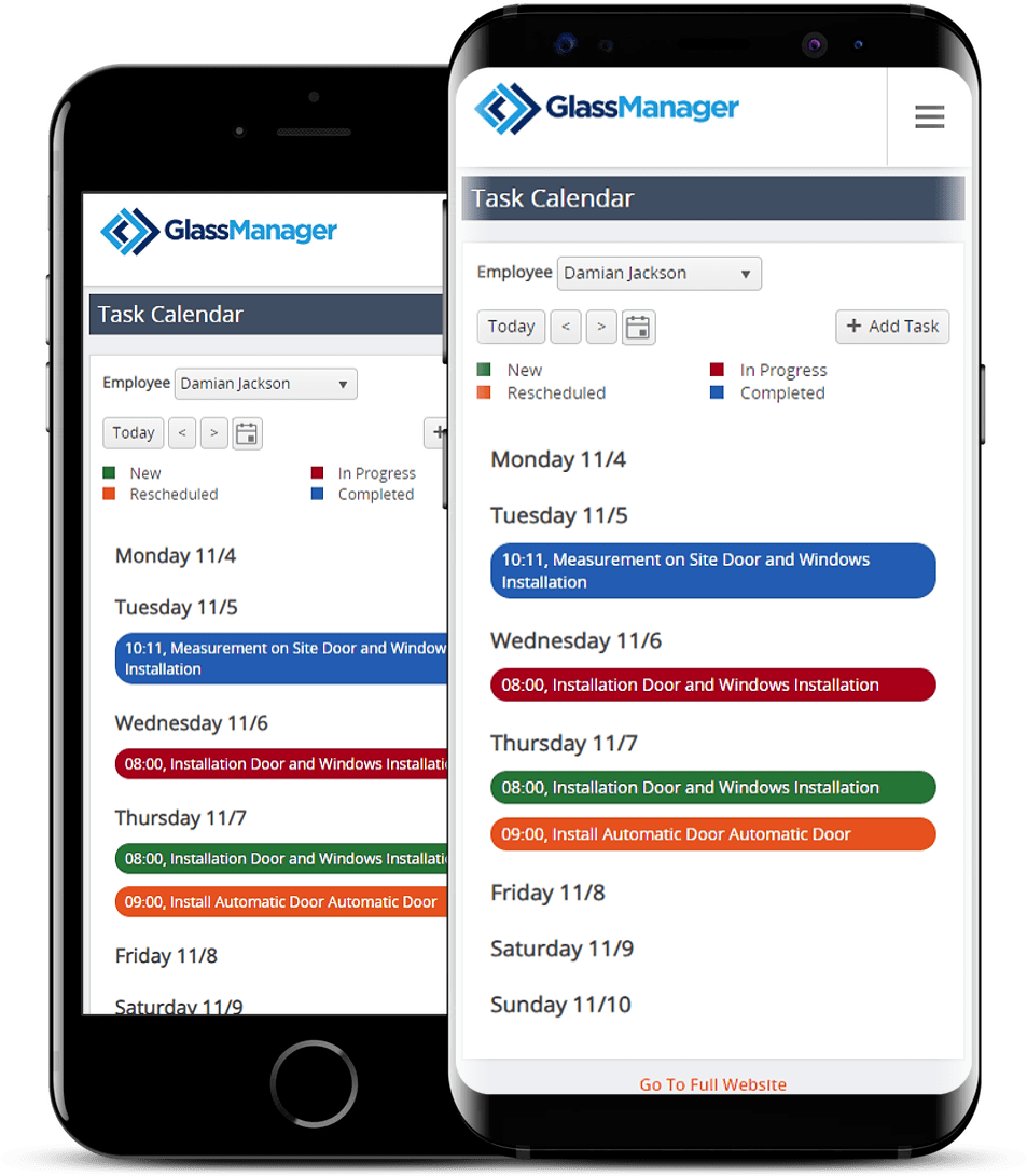 scheduling using mobile phone of GlassManager Business Management Software